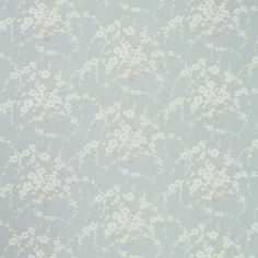 Lori Floral Linen/Cotton Fabric Duck Egg