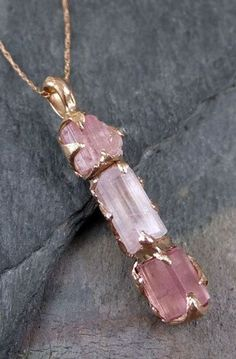 Raw Pink Tourmaline Rose Gold Pendant Necklace