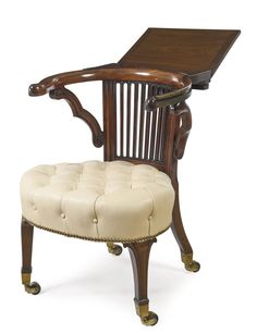 A Regency mahogany library reading armchair after a design by Morgan and Saunders circa 1810
