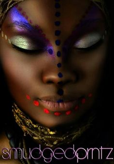 African Tribal - Beauty or Art? African Tribal Makeup, Tribal Face, African Beauty, Looks Dark, High Fashion Makeup, Fantasy Makeup, Creative Makeup, Face Art, Black Is Beautiful
