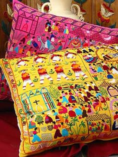 embroidered pillows - Google Search