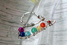 Chakra Regenbogen Farben Glas Herz Unikat Anhänger/Fee Einzelstück Liebe Love