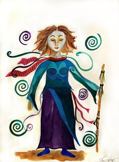 Spiritual Warrior an Original Watercolor Painting 11x14 on Strathmore Watercolor Paper with  Purple Turquoise Healing Spirals