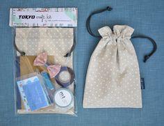 BRILLIANT PARTY FAVOR IDEA!!!!  DIY Craft Bag - - Gift Set - - Tokyo Craft Kit Blue Harajuku - - washi tape, notebook, drawstring bag, stickers. $25.00, via Etsy.