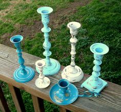 distressed painted brass candlesticks