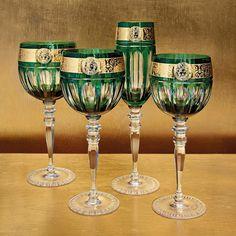 Taças de Cristal Versace Casa Com Ouro
