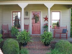 Spring is upon us and it's time to spruce up your curb appeal and get ready to sip some sweet tea with company on the front porch! Primitive Homes, Primitive Country, Farmhouse Front Porches, Country Porches, Southern Porches, Front Porch Makeover, Rocking Chair Porch, House With Porch, Decks And Porches