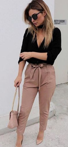 black and blush outfit idea / blouse + bag + high weist pants + heels