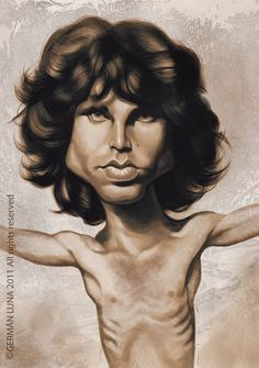 Jim Morrison Funny Caricatures, Celebrity Caricatures, Jim Morrison, Marilyn Monroe Artwork, Realistic Cartoons, John Malkovich, Caricature Drawing, Funny Drawings, Funny Art