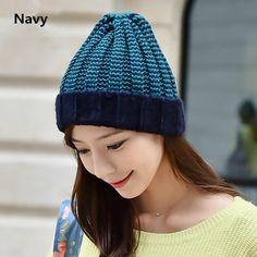 Stripe beanie hat for girls knit hats winter