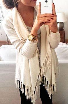 #winter #fashion / white fringe cardigan