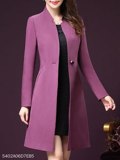 V Neck Single Button Plain Trench Coat Casual Skirt Outfits, Dress Outfits, Casual Dresses, Emo Outfits, Mode Mantel, Best Prom Dresses, Party Dresses, Frack, Coat Dress