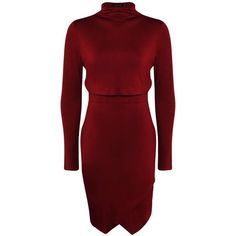 Boohoo Gina High Neck Asymmetric Double Layer Dress ($26) ❤ liked on Polyvore featuring dresses, high neck bodycon dress, bodycon cocktail dress, high neck dress, asymmetrical skort y red dress