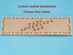 Click To Shop Now - Handmade Personalised Name Leather Bookmark, Hand Stamped Leather Book Mark. #personalised #name #leather #bookmark #handstamped Leather Bookmarks, Leather Keyring, Leather Gifts, Leather Books, Leather Craft, Leather Anniversary Gift, 3rd Anniversary Gifts, Personalised Keyrings, Personalized Gifts