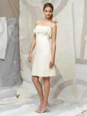 Ivory A-Line Strapless Lace Up Knee Length Prom Dresses With Ruffles and Belt