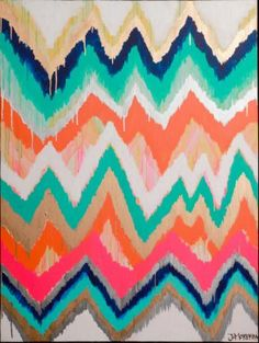 Jennifer Moreman; Smitten Two, Original Ikat Chevron