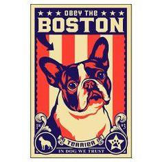 BOSTON Terrier USA Propaganda Large Poster > BOSTON USA > Obey the pure breed! The Dog Revolution
