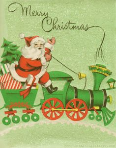 Santa riding a train. What a fabulous Christmas image to use for yo. Merry Christmas Images Free, Merry Christmas Santa, Christmas Past, Vintage Christmas Cards, Retro Christmas, Vintage Holiday, Christmas Greeting Cards, Christmas Greetings, Father Christmas