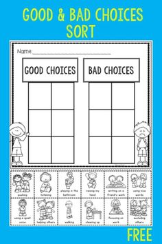 Behavior Expectations and Think Sheet Free good and bad choices sort is great for the beginning of the year in kindergarten or first grade. Students sort pictures of good and bad choices. Classroom Behavior, Kindergarten Classroom, Classroom Decor, Classroom Expectations, Beginning Of Kindergarten, School Behavior Chart, Weekly Behavior Charts, Kindergarten Orientation, Kindergarten Calendar