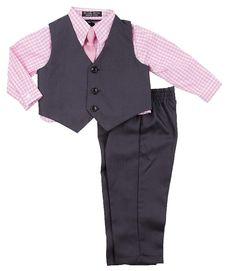 1e6b696ba Boys Formal Suit Set - Vest Dress Shirt Pants and Matching Tie Dressy Wear  Outfit By Caldore - Pink - CG185XIGNC5