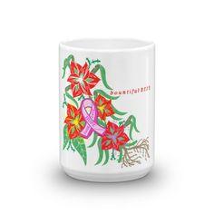 """Marian Lilies"" Breast Cancer Ribbon coffee mug"