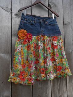 Eco Upcycled Sexy Boho Hippie Floral Jean Skirt. $35.00, via Etsy.
