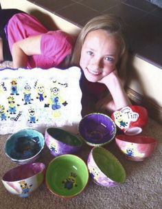 Isabel Nielson invited seven friends to paint soup bowls for her 12th birthday this year. The bowls will be donated to Feeding South Dakota's Empty Bowls program which raises awareness about hunger in the community. #GoodDeeds #FeedingSouthDakotasEmptyBowls #birthdayparty #birthdaypartyideas