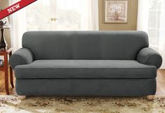 Sure Fit Slipcovers Stretch Suede Separate Seat T Cushion   Sofa T Cushion