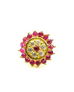 Luxurious Solid Casting Pink&White CZ Piercing Nose stud Pin 14k Yellow Gold