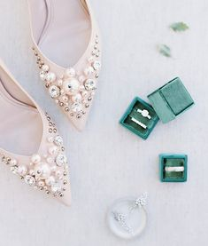 If we got the chance to wear these gorgeous bedazzled @miumiu pumps, we'd never ever take them off! | Photography: @lunademarephoto | Event Planning + Design: @amorology | Floral Design: @thedaintylionfloralco | Shoes: @miumiu | Ring Box: @the_mrs_box