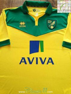 Relive Norwich City's season with this original Errea home football shirt. Football Uniforms, Football Jerseys, Norwich City Football, Middlesbrough Fc, Shrewsbury Town, Preston North End, Fa Cup, Premier League