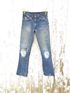 LEVIS 646 Big E Jeans 30 Waist Orange Tab Patched 1970s