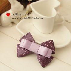 紫色波点 秀气7厘米 蝴蝶结边夹