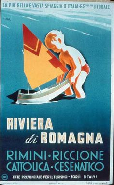 Vintage Riviera Di Romagna Italy Italian Travel Poster Re-Print Retro Poster, Poster Vintage, Vintage Travel Posters, Vintage Postcards, Vintage Advertisements, Vintage Ads, Tarzan, Vintage Italian Posters, Railway Posters