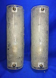 Pair Kalmar Style Mid Century Ice Glass Wall Lamp Sconces #