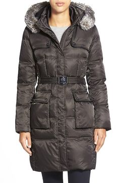 Vince CamutoBelted FauxFur Trim Down & Feather Fill Coat available at #Nordstrom