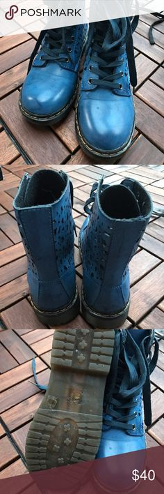 New blue leather boots Very cute blue boots with laser cut details. New, never worn. 100% leather Shoes Combat & Moto Boots