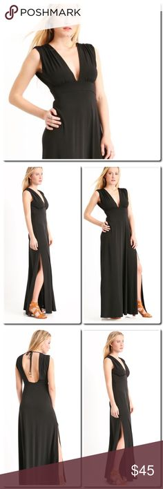 """COMING SOON Black Maxi Dress With its dramatic plunging V-neckline, open back with top tie, ruched accented shoulders, and long side slits, brace yourself for a timelessly romantic dress you'll love to wear over and over again. Plunging V-neckline Open back with top tie Ruched accented shoulders Sleeveless Empire waistband Long side slits 96% polyester / 4% spandex Machine wash cold, tumble dry low Measures approximately 60"""" from shoulder Model shown wearing size small (S) Made in the USA…"""