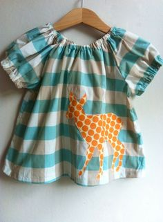 Blue Check Deer Blouse 612 mths 12 yrs by TreefallDesign Clothes Crafts, Sewing Clothes, Sewing For Kids, Baby Sewing, Toddler Fashion, Girl Fashion, Little Girl Dresses, Girls Dresses, Kids Wear