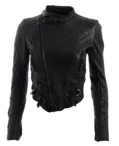 Horace Cropped Leather Biker Jacket