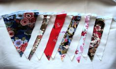 3 Metres/10ft of Oriental Pattern & Ivory Handmade Fabric Bunting (12 Flags) No1