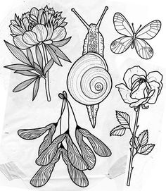 """"""" finally made it and has some designs available she would love to do (especially the snail)! She'll be here through the end of the month. To make an appointment email her at herzdame Tattoo Drawings, Body Art Tattoos, Art Drawings, Ship Tattoos, Ankle Tattoos, Arrow Tattoos, Word Tattoos, Tattoo Sketches, Snail Tattoo"""