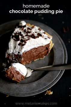A deep dish crust is filled with the most decadently delicious homemade pudding that makes instant pudding from a box seem like the most ridiculous idea ever. Topped with billowy clouds of whipped cream and showered with chocolate shavings, you won't want to share a single slice of this Homemade Chocolate Pudding Pie.