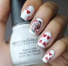 Discovered by Find images and videos about nails, nail art and nail design on We Heart It - the app to get lost in what you love. Nail Designs 2015, White Nail Designs, Love Nails, Pretty Nails, Fun Nails, Heart Nail Art, Heart Nails, French Nails, Las Vegas Nails