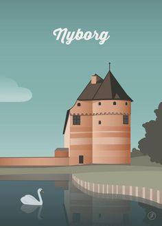 Nyborg - str. A3 og A5 og A4 og 50x70 plakat fra Jeanet kristensen