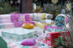 Mah Jong sofa designed by Hans Hopfer, dressed in No Gaku fabrics (version Asa) designed by Kenzo Takada   Roche Bobois