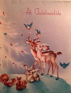 Vintage Mid Century Unused Darling Christmas Card Deer Birds Squirrels