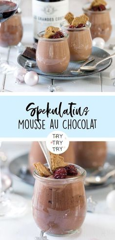 Speculoos - Chocolate Mousse with Candied Cherries Dessert in a glass Wei . - Speculoos – Chocolate Mousse with Candied Cherries Dessert in a glass Christmas Desserts In A Glass, Cherry Desserts, Fall Desserts, Christmas Desserts, Christmas Christmas, Xmas, Food Cakes, Cake Recipes, Snack Recipes
