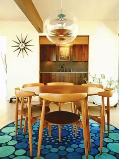 Hans J. Wegner dining set: Teak chairs and table model FH 4103. Designed in 1952 and manufactured by Fritz Hanse, Denmark. Verner Panton´s G...