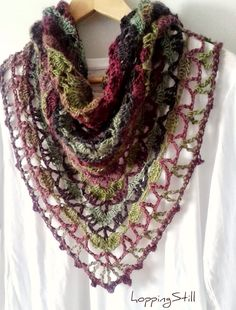 From Hoppingstill - Variation of the South Bay Shawlette: http://www.ravelry.com/patterns/library/south-bay-shawlette. Last two rows Heloise pattern: http://www.ravelry.com/patterns/library/heloise